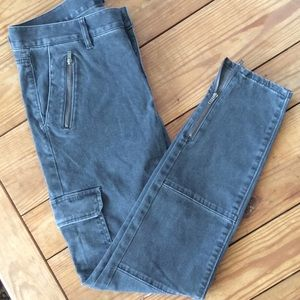 LOFT 4 Distressed Charcoal Jeans Pockets and Zips
